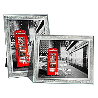 8x10 Picture Frame Set of 2 Sparkle Edged 8 by 10 Inch Glass Photo Frames for Tabletop Display