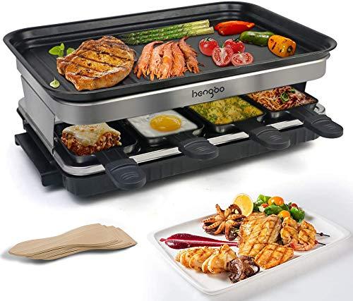 Raclette Grill mit Antihaftbeschichtet 8 Pfännchen, für 8 Personen 1500W