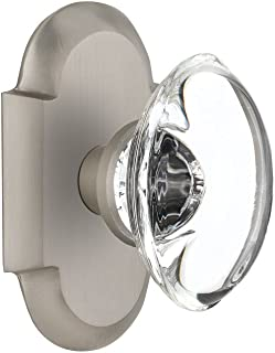 Nostalgic Warehouse Cottage Plate with Oval Clear Crystal Glass Door Knob, Single Dummy, Satin Nickel