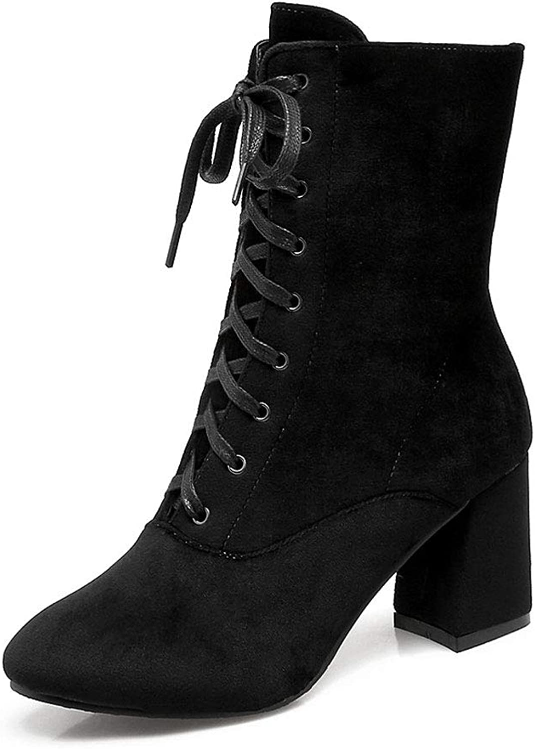High-Heeled Lace-Up Boots, Thick-Heeled Round-Headed Knight Boots in The Tube with A Martin Boots Waterproof Platform Comfortable Non-Slip Women's shoes