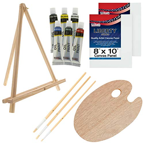 U.S. Art Supply 14-Piece Oil Artist Painting Set with Mini Table Easel, Brushes & Palette
