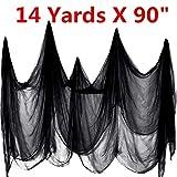 Daimon Halloween Creepy Cloth 14 Yards X 90' Creepy Spooky Halloween Decorations (Black, 14 Yards X 90')