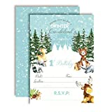 Woodland Winter Wonderland One-derland First Birthday Party Invitations for Boys, 20 5'x7' Fill in Cards with Twenty White Envelopes by AmandaCreation