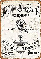 Shimaier 壁の装飾 ブリキ 看板メタルサイン 1893 California Grapes ウォールアート バー カフェ 30×40cm ヴィンテージ風 メタルプレート