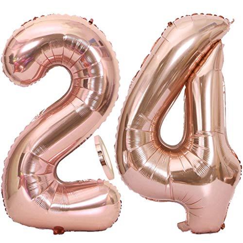 """2 Globos Número 24 Oro Rosa, Ouceanwin Gigante Foil Globos Numeros 24 Grande Globo de Papel de Alumini, 40"""" Globo Inflable Helio para Decoraciones de Fiesta de Cumpleaños 24 Años Niña Chica (100cm)"""