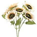XHXSTORE-Artificial-Sunflower-White-Faux-Silk-Flowers-for-Wedding-Vase-Party-Floral-Festive-Outdoor-Indoor-Fake-Sunflowers-for-Decoration-Home-Table-Office-Garden-Farmhouse-Grave-Bouquet-Decor-2Pcs