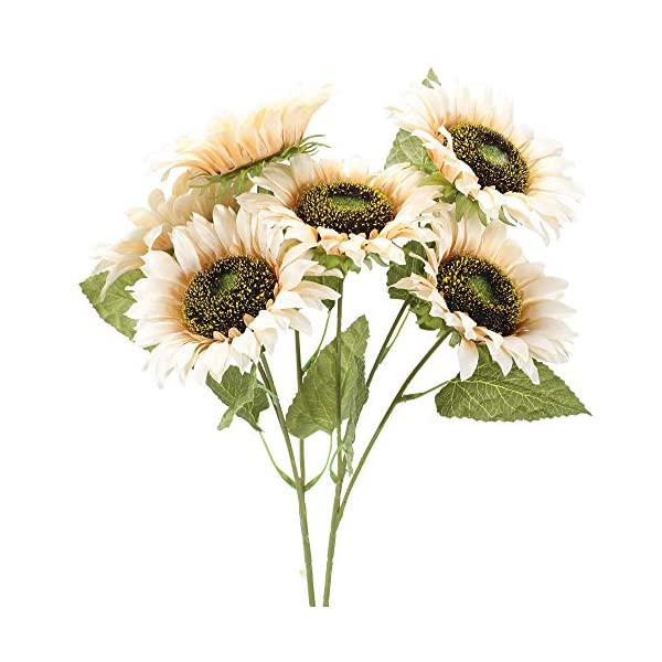 XHXSTORE 2Pcs Artificial Sunflower Bush Faux Silk Flowers White Fake Sunflowers Bulk Artificial Flower Bouquet for Vase Wedding Home Party DIY Balcony Basket Garden Decoration Anniversary Grave
