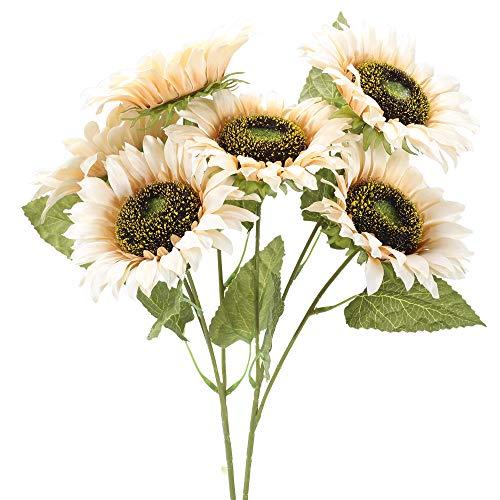 XHXSTORE 2PCS Flores Artificiales Girasoles 6 Tallos Ramo de Flores Blancas para Maceta Mesa Arreglo Floral Hogar
