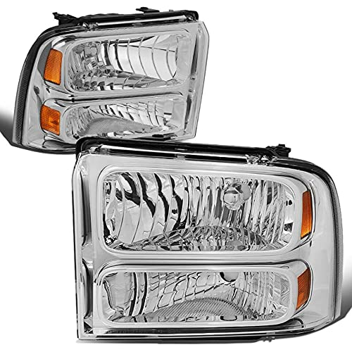 2Pack Clear Lens Headlight Assembly Compatible For Ford 2005-2007 F250 F350 Super Duty Amber Corner Headlamps