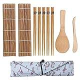 Anyutai Set de Sushi Enrollado a Mano Set de 10 esteras de bambú Set de preparación de Sushi (2 * Roll + 1 * rispoon + 1 * Cuchilla + 5 Pares * Palillos + 1 * Bolsa de Tela)
