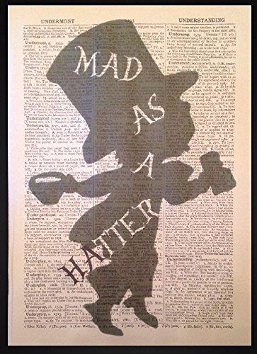 Parksmoonprints Mad Hatter Mad Als een hoed Vintage Woordenboek Wall Art Quote Print Picture Alice in Wonderland Quirky Humour Pun leuk cadeau