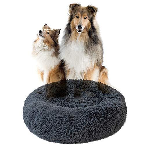 miaosss kalmerend bed voor kattenhonden Donut Pet pluche rond, pluizig kussensloop voor grote, middelgrote honden (meerdere maten) - grijs 60cm