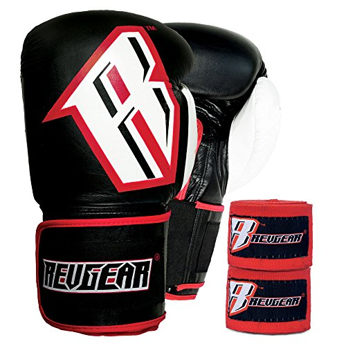 Revgear S3 Sentinel Boxing Gloves and Elastic Hand Wraps Bundle, Red Hand Wrap, Red, 16-Pound