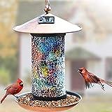 AOSEE Solar Bird Feeder, außerhalb hängendes Vogelhaus, Gartenlaterne Licht Vogelhaus Wandbehang...