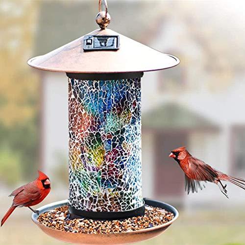 AOSEE Solar Bird Feeder, außerhalb hängendes Vogelhaus, Gartenlaterne Licht Vogelhaus Wandbehang im Freien Vogelhäuschen für die Fütterung von Wild Bird Garden Yard außerhalb Dekor (Regenbogen)