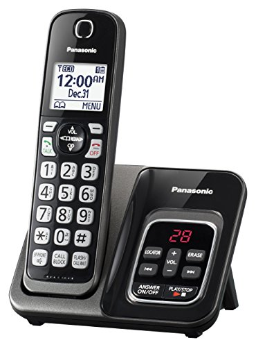 Panasonic Expandable teléfono inalámbrico con Call Bloque y contestadora, 1 Handset, Metallic Black