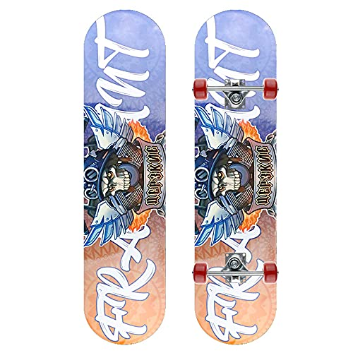 GCJJ-HSY Monopatín De 31 Pulgadas Doble Patinaje Patín Cruiser 7 Capa Maple Deck Skateboard, Adecuado para Niña para Niños (Skull Pirate)