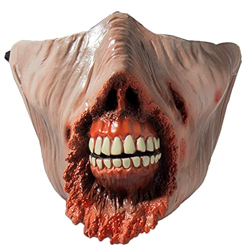 Mscara de Halloween, Half Face Shiller Rotten Face Monster Master Masks Halloween Disfraz Props (Color : White, Size : M)