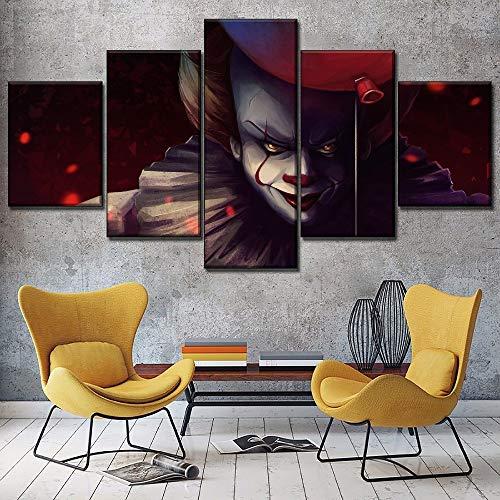 Canvas Kunst Aan De Muur Decoratieve 5 Stuks Balloon Clown Movie Schilderij Op Doek Print Filmopnamefunctie Modern Kunstwerk (Size (Inch) : Size 2)