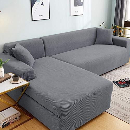Fsogasilttlv Sofabezüge Couchbezug Sofa Abdeckung 2-Sitzer und 4-Sitzer, einfarbiges Eck-Sofabezug-Set für Wohnzimmer, elastische Couchbezüge Stretch-Sofa Handtuch L-förmiges Sofa