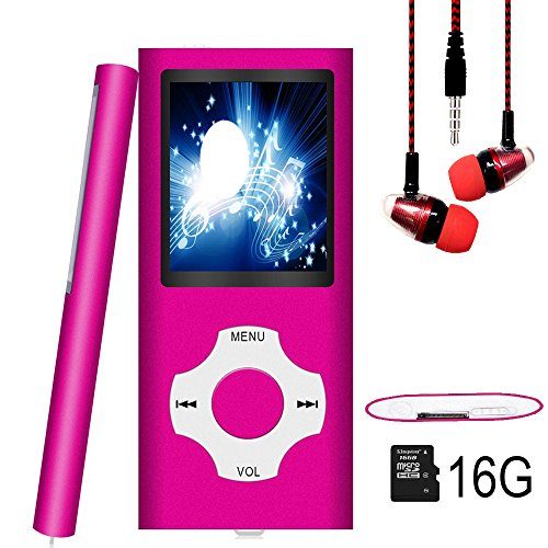 MP3 Player / MP4 Player, Hotechs MP3 Music Player with 16GB Memory SD card Slim Classic Digital LCD 1.82 Screen with FM Radio, (16GB.-Rosered-lx)