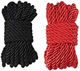 32 feet 8mm(1/3inch) Diameter Soft Silk Rope Solid Braided Twisted Ropes,10m Durable and Strong All Purpose Twine Cord Rope String Thread Shiny Cord_ Black and Red