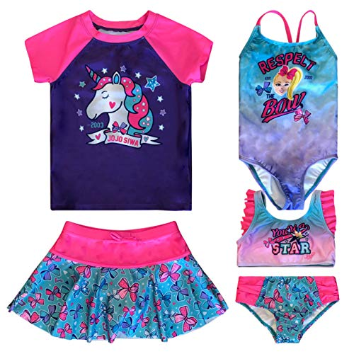Girls' JoJo Siwa 5 Piece Mix and Match Swimsuit Bathing Suit Bathingsuit Set Size 7/8