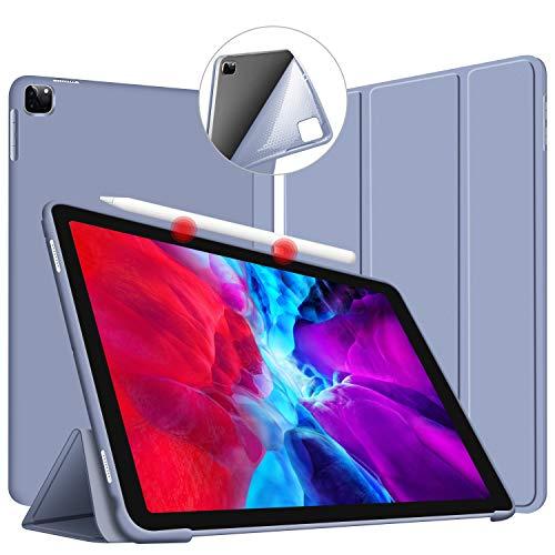 iPad Pro 11 ケース 2020 Apple Pencil 収納 ペンの充電に対応 薄型 軽量 PUレザーカバー オートスリープ機能 三つ折りスタンド スタンド機能 衝撃吸収 全面保護 2020年春発売のiPad Pro 11インチ専用-グレー