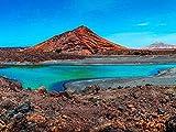 DFGJ Rompecabezas Naturaleza volcánica en el Parque Nacional de Timanfaya Cerca de la Costa del mar en Lanzarote, Islas Canarias, España 500 Piezas (52 * 38 cm)