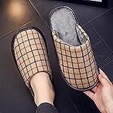 Men's Women's Comfort Anti-Slip Slippers Plush Warm Slippers Home Non-Slip Cotton Shoes-Grey Red Plaid_UK3-UK3.5 Men's...