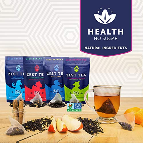 Zest Tea Energy Hot Tea Variety Pack, High Caffeine Blend Natural & Healthy Coffee Substitute, Perfect for Keto, 80 servings with 4 flavors (135-150mg Caffeine each), Compostable Teabags (No Plastic)