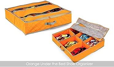 House of Quirk 6 Pairs Shoes Storage Organizer Holder Shoe Organizer Box Under Bed Closet Fabric - Orange