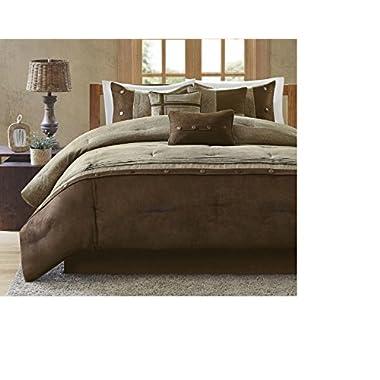 7 Piece Woven Color Block Design Comforter Set Queen Size, Featuring Beautiful Rustic Horizontal Lines Plush Pintuck Pattern Comfortable Bedding, Contemporary Cozy Bedroom Decoration, Brown, Tan