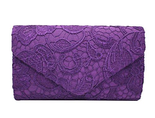 PB-SOAR Elegant Damentasche Clutch Abendtasche Brauttasche Umhängetasche Handtasche mit Spitze, 8 Farben auswählbar (Violett)