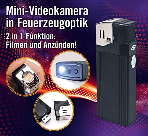 USB-Feuerzeug-Kamera - Full HD | Mini-Videokamera in Feuerzeugoptik | 2 in 1 Funktion: Filmen und Anzünden! | integrierte LED-Taschenlampe