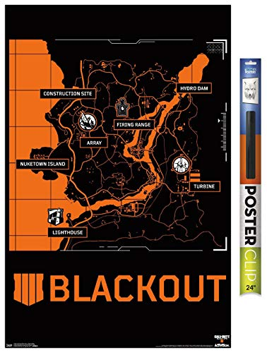 Trends International Call of Duty: Black Ops 4 - Blackout Map Wall Poster, 22.375' x 34', Premium Poster & Clip Bundle