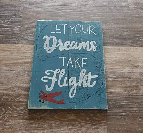 Ced454sy Laat uw dromen nemen vlucht kinderen aanpasbare vliegtuig gedrukt rustiek hout teken