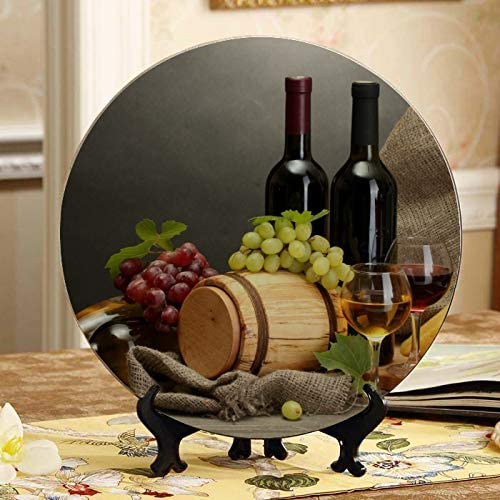 LICTshop Bottle Great interest Wine and Super-cheap Grape On Plates Display for Table Decor