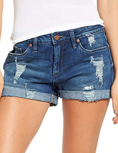 luvamia Women's Ripped Denim Jean Shorts Mid Rise Stretchy Folded Hem Short Jeans Denim Blue Size Medium