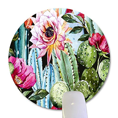 Wknoon Cactus Flowers Round Mouse Pad, Vintage Watercolor Green Cacti Pink Floral Nature Plant Circular Mouse Pads Cute Mat