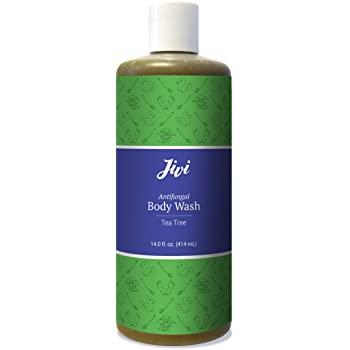 Jivi Antifungal Body Wash (Tea Tree) | Treats Athlete's Foot, Toenail Fungus, Ringworm, Jock Itch, More | 100% Natural with Organic Ingredients | Made for All Skin Types | 14 fl. oz.