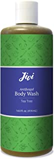 Jivi Antifungal Body Wash (Tea Tree) | Treats Athlete's Foot, Toenail Fungus, Ringworm, Jock Itch, More | 100% Natural with Organic Ingredients | Made for All Skin Types | 14 fl. oz.