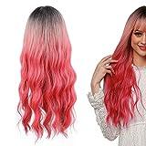 lc6026‑1 Pelucas de pelo ondulado largo y rizado, peluca completa resistente al calor con gorro de peluca, pelucas de pelo falso para fiesta de cosplay para fiesta de Halloween, rosa brillante 66cm