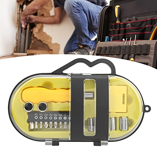 Screwdriver Bit Set, High Hardness Professional 16Pcs Drill Bit Set Precision with a Gourd-Shaped Handle Tape Measure for Families for Daily Maintenance