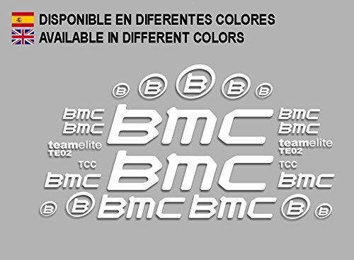 Ecoshirt CI-IGS4-OTD8 Aufkleber BMC F167 Vinyl Adesivi Decal Aufkleberbögen ungemŸhr MTB Stickers Bike, weiß