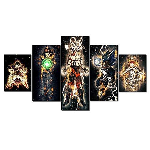 YGYT 5 Piece Dragon Ball Super Son Goku Black Vegeta Anime Poster Modular Painting Wallpapers Poster Print for Living Room Home Decor No Frame