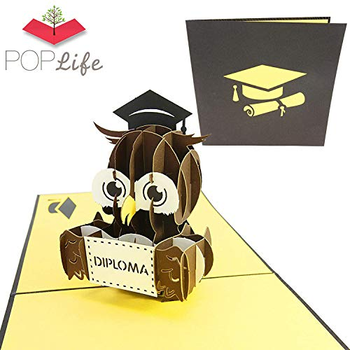 PopLife Graduation Diploma Owl 3D Pop Up Card, 3D Card - Gift for Graduating Students