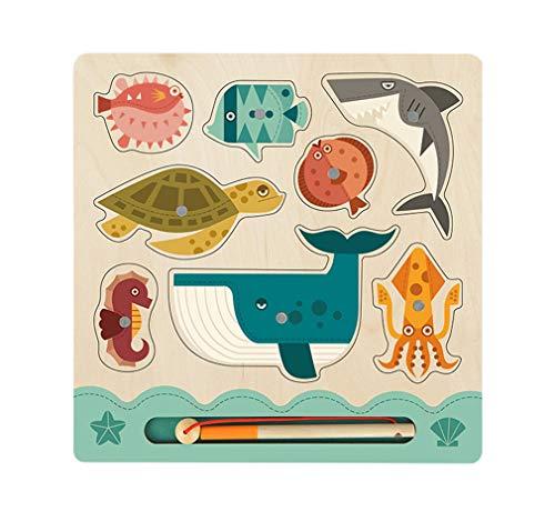 Yx-outdoor Montessori panel de pesca magnético, guía de cognición de animales marinos para niños mayores de 2 años, bloques de construcción de madera juguete de pesca