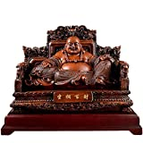 Chinese Feng Shui Laughing Buddha Statues and Figurines Happiness God of Wealth on Emperor`S Dragon Chair Sculpture for Office and Home