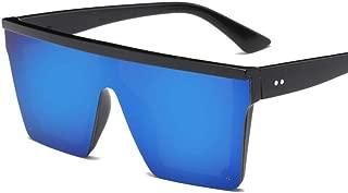 Fashion Men Vintage Driving Sun Glasses Women Flat Top Big Frame Sunglass Retro Siamese Eyewear UV400 Sunglasses Retro (Color : Blue)